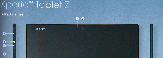 Knapper og utforming av Xperia Tablet Z