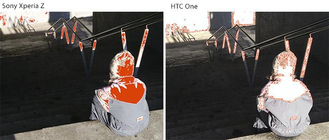 Det hvite området på bildet til høyre er bildeinformasjon som er fjernet av HTC One.