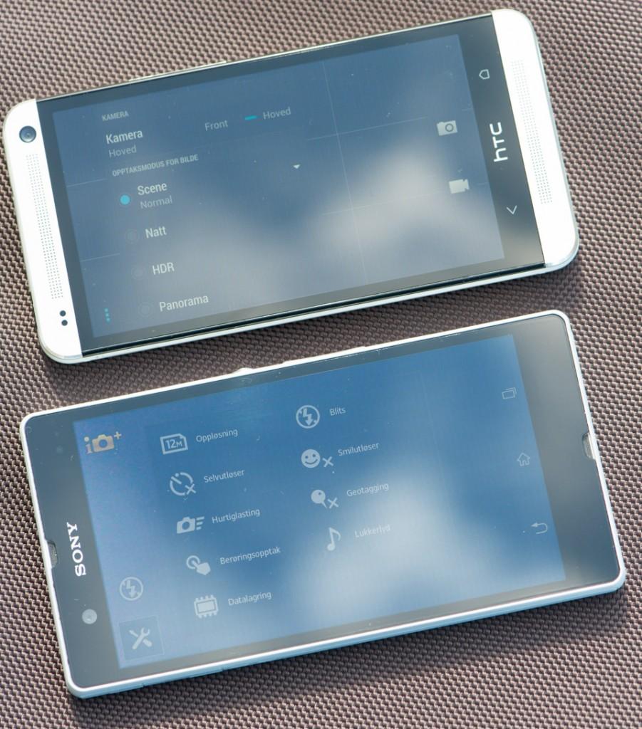 HTC One og Sony Xperia Z ute i sollys. HTC One øverst og Xperia Z nederst.