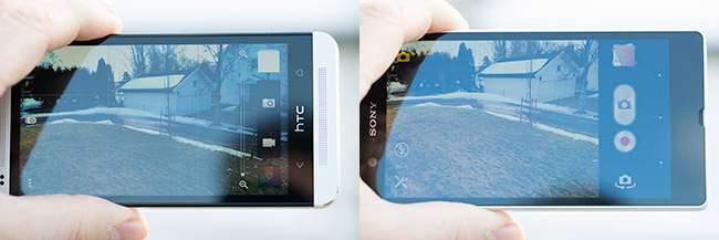 HTC  One og Sony Xperia Z ute i solys
