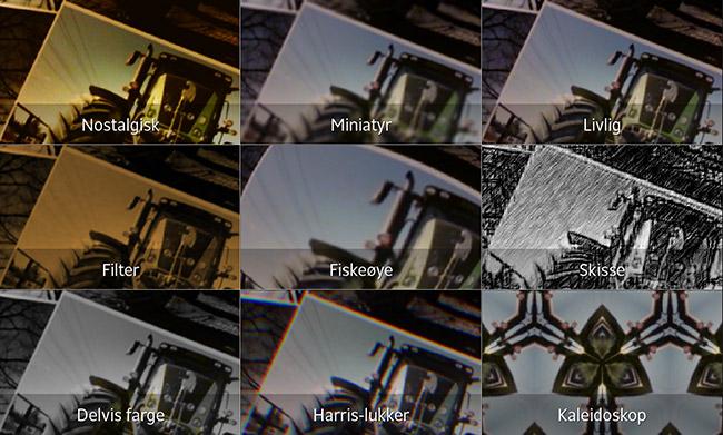Visning av bildeeffekter i sanntid på Sony Xperia Z
