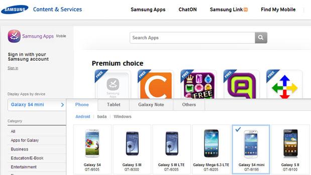 Galaxy S4 Mini listet i Samsung sin app store