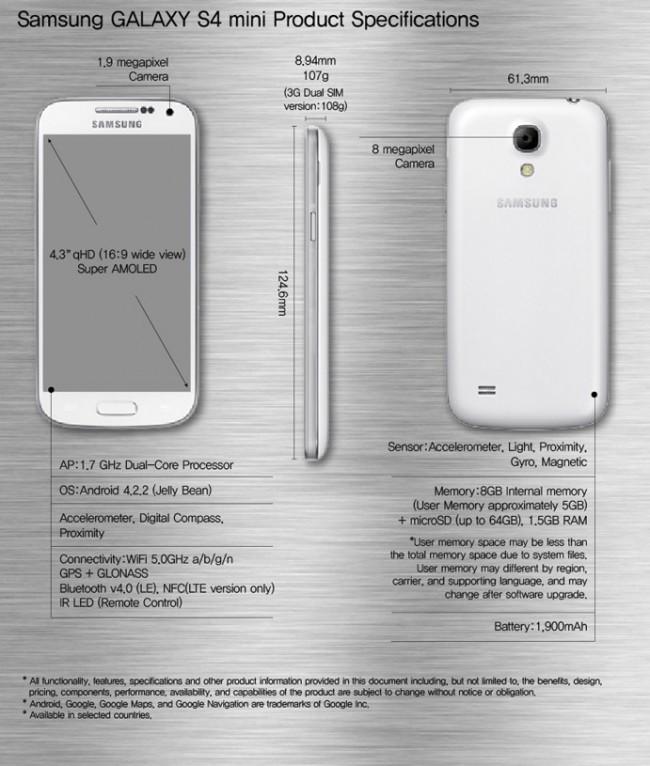 Samsung Galaxy S4 mini spesifikasjoner