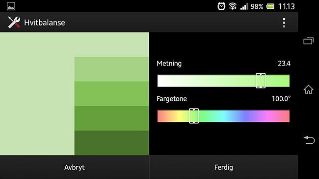 Sony Xperia Z med manuelle hvitbalanse