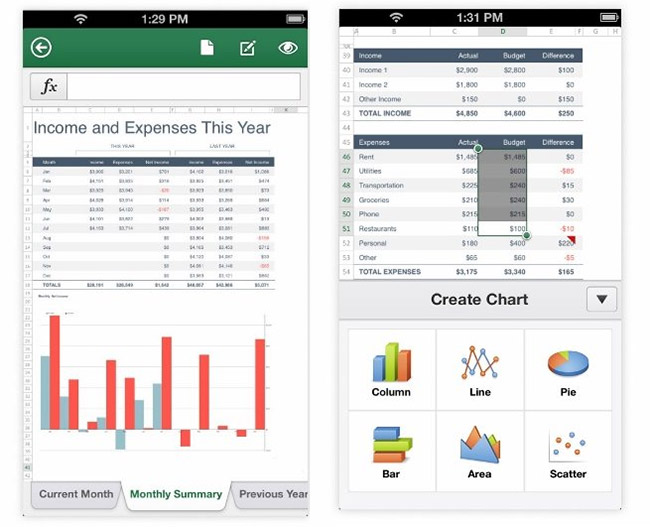 Microsoft Office Mobile for iPhone - Excel