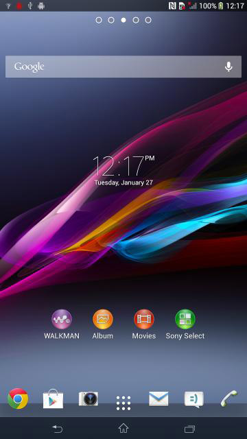 Sony Xperia Z ultra hjemskjerm