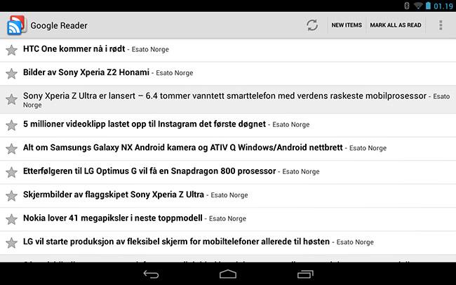 Google Reader skjermbilde nettbrett
